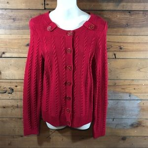 Christopher & Banks Red Cable Knit Cardigan Small